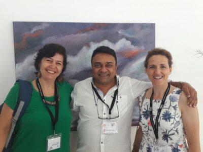 Andrea de Barros (Universidad Osnabrück), Dasarath Chetty (Universidad South Africa), Gloria Ostos (Participa). ISA Congress, 2017.