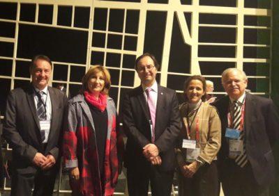 Bernard Gindroz (ISO TC 268), Emilia Sainz (CGLU), Sergio Múgica (ISO), Gloria Ostos (Participa), Carlos Gadsden (ISO TC 176) 2017.